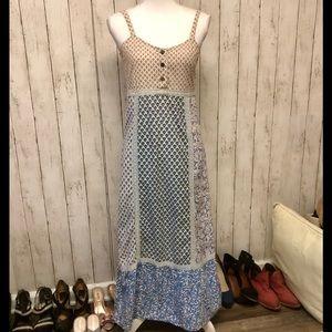 Blue Sky Summer Patchwork Maxi Prairie Sun Dress
